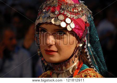 ANKARA/TURKEY-JUNE 8: Anadolu Folklor Vakfi's Folk Dancer at the stage during the