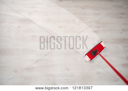 Wiping floor during spring cleaning