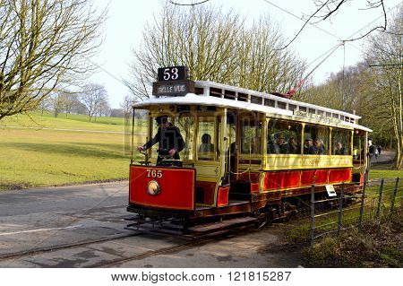 Tram number 765 being driven in Heaton Park