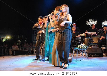 ANKARA/TURKEY-JUNE 8: Turkish Radio and Television-TRT's folk music singers at the stage during the