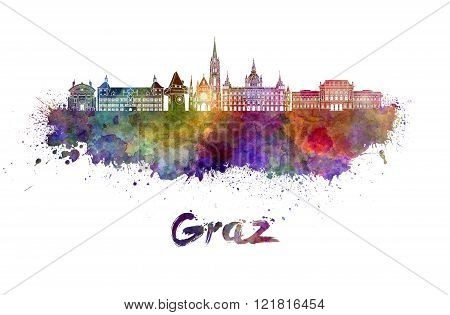 Graz Skyline In Watercolor