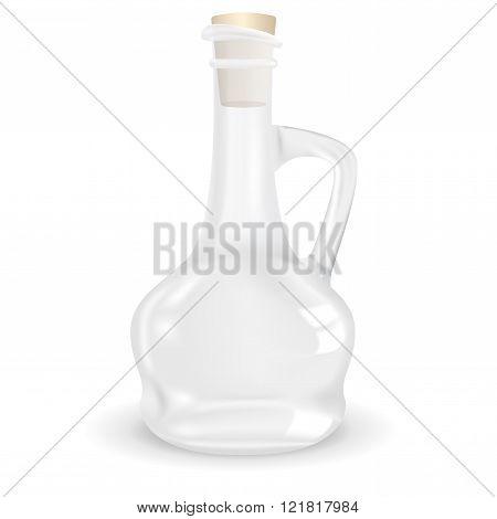 Empty glass bottle for oil.