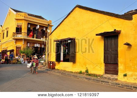 HOI AN VIETNAM - MARCH 13: View of the street in Hoi An old town Vietnam on March 13 2015. Hoi An is a city of Vietnam on the coast of the East Sea.