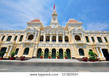 Saigon townhall building front view, city of Vietnam