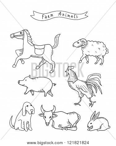 Farm animals. Isolated. Vector.