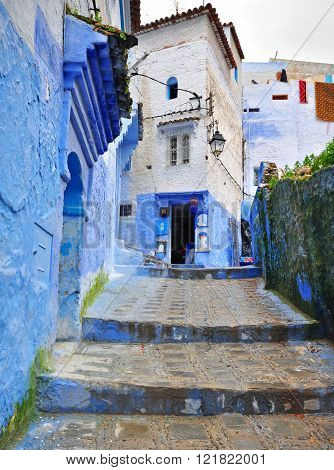 CHEFCHAOUEN MOROCCO - FEBRUARY 16: View of a street in Chefchaouen old town on February 16 2015. Chefchaouen is the ancient town located in northern part of Morocco.