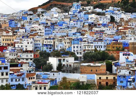 CHEFCHAOUEN MOROCCO - FEBRUARY 16: View of Chefchaouen old town on February 16 2015. Chefchaouen is the ancient town located in northern part of Morocco.