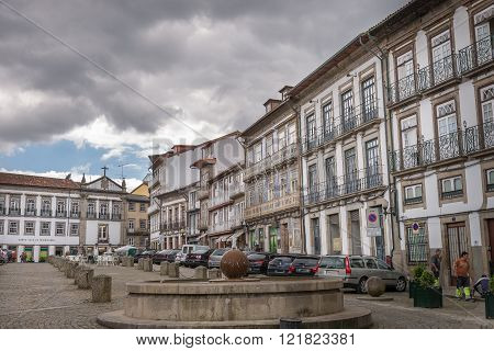 Facades And Alleyway  Of Guimaraes, Portugal.