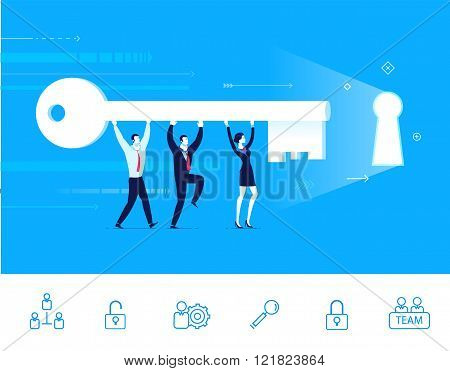 Vector illustration of teamwork. Team go to the door with a key