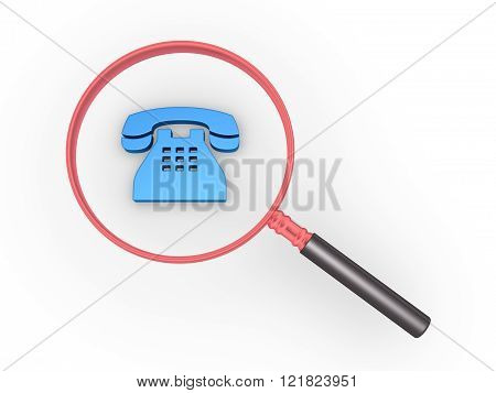 Magnifier is over a blue telephone symbol