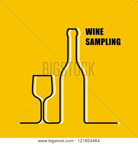 Wine Bottle And Wineglass Contour - Wine Sampling