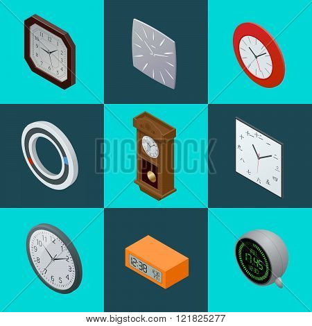 Set of elegant clocks. Pendulum clock, modern clock, Digital clock. clock Flat 3d Vector illustratio
