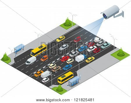 Security camera detects the movement of traffic. CCTV security camera on isometric illustration of t