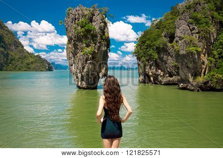 Attractive Woman Model Looking On James Bond Island In Phang Nga Bay, Thailand