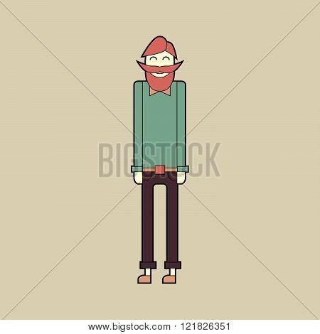 Flat character stylish bearded hipster