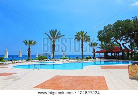 Swimming Pool Area Near Mediterranean Sea In Antalya, Turkey