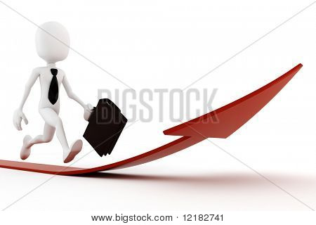 3d man running on a red arrow pointing up