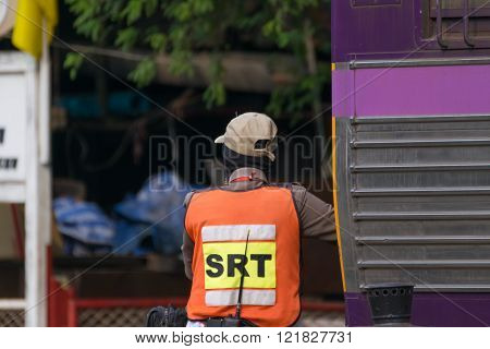 Bangkok, Thailand - February 16, 2016 : Unidentified railway employees controlling the locomotive for switching the railway before serving at State Railway of Thailand.