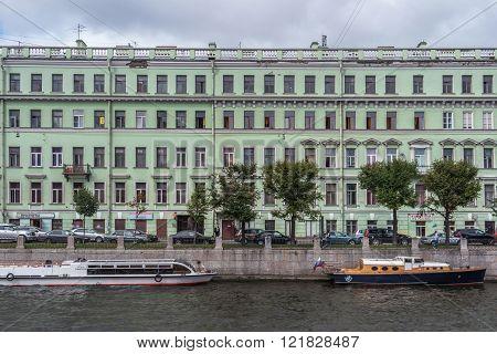 SAINT PETERSBURG, RUSSIA, - AUGUST 16, 2015: Fontanka river embankment.