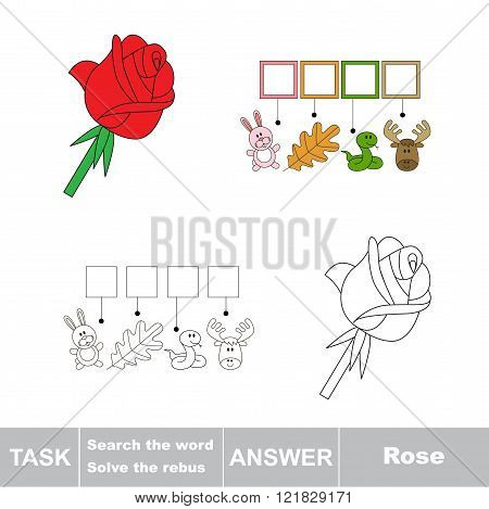 Vector rebus game. Task and answer. Solve the rebus and find the word Rose