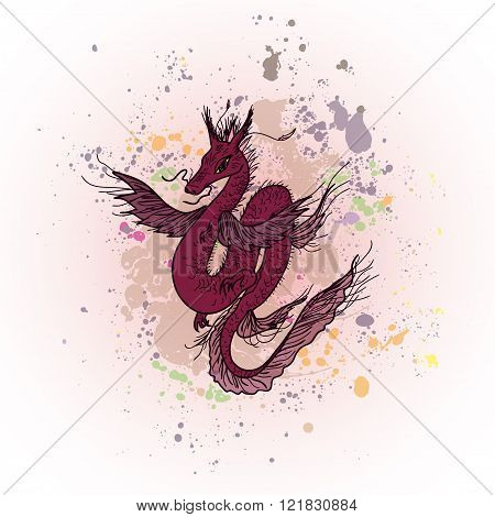 Magic dragon on abstract ink background