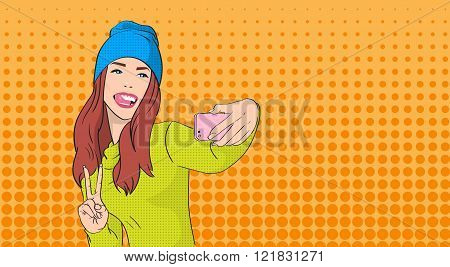 Woman In Hat Girl Taking Selfie Photo On Smart Phone Peace Gesture Pop Art Retro Style