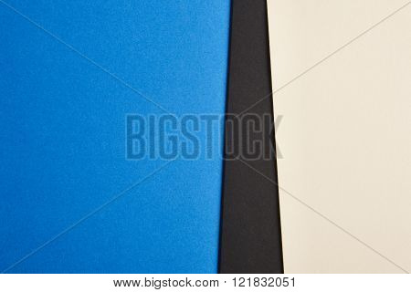 Colored Cardboards Background In Blue Black Beige Tone. Copy Space.