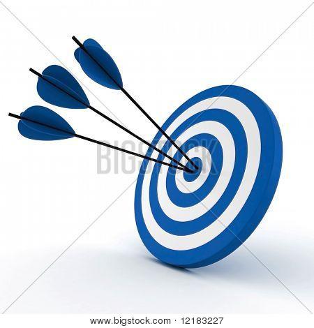 3d 目标和孤立的白色上的箭头