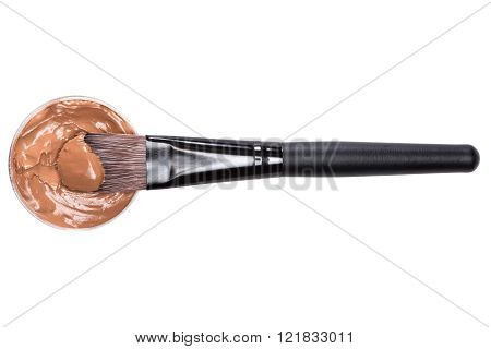 Makeup Brush With Liquid Foundation Isolated On White Background