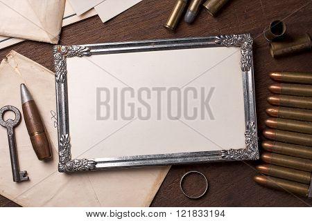 Vintage frame and element of the war
