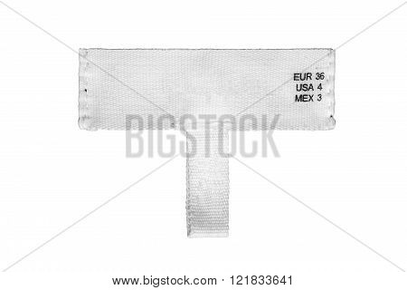 Blank white clothes label on white background
