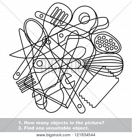 Utensils mishmash set in vector outlined to be colored.  Find all hidden objects on the picture.