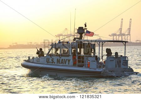 GULF OF ADEN, REPUBLIC OF DJIBOUTI FEBRUARY 06, 2016: US NAVY inshore security patrolling in port of Djibouti