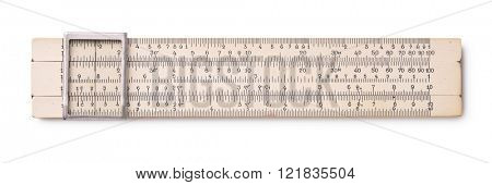 Top view of old slide rule isolated on white