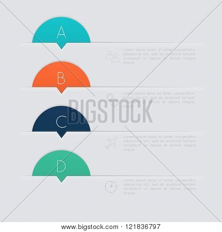 Set Of Colorful Text Box With Steps, Trendy Colors.