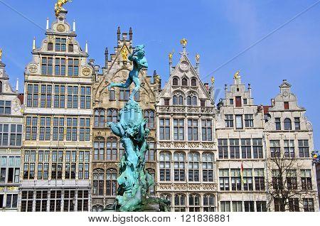 Monument on central square of Antwerpen Belgium