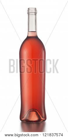 Rose wine bottle with no label and no cap isolated on white background