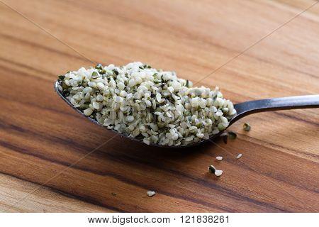 Teaspoon With Raw Shelled Hemp Seeds