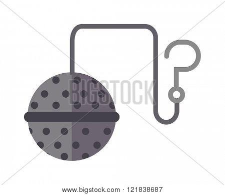 Tea strainer vector illustration. Food tool tea-strainer flat style
