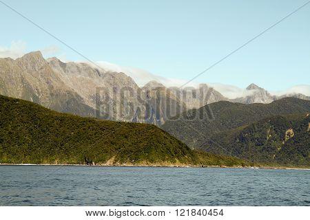 Coast line of New Zealands west coast in Fjordland