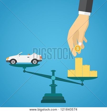 Scales with car and gold coins.