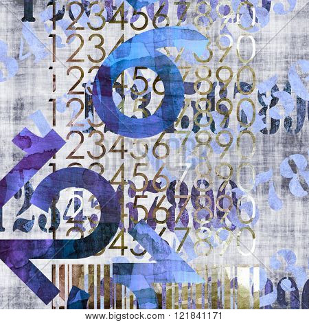 art abstract grunge collage of  number and typo, monochrome  background in blue, black, grey and white colors