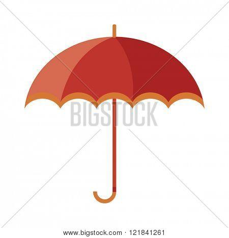 Vector illustration of classic elegant opened red umbrella isolated on white background.