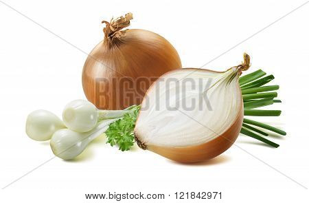 Green Spring Yellow Onion Scallion Parsley 2 Isolated White Background