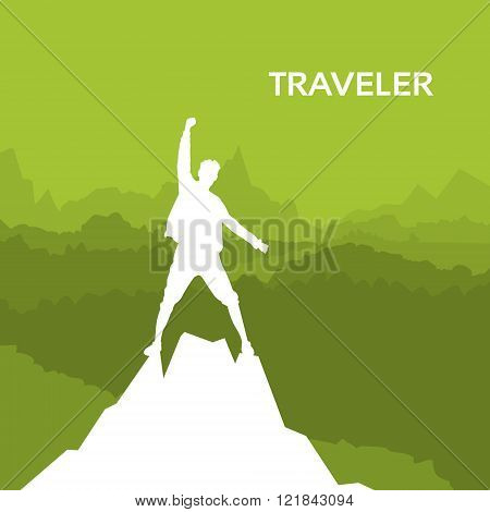 Traveler Man Silhouette Rock Climber Stand On Top Mountain
