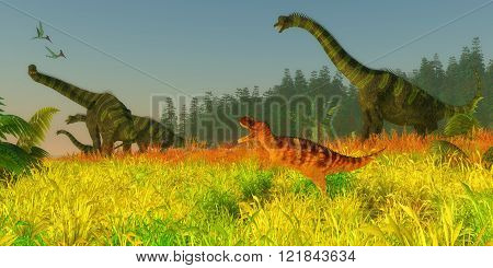 Two Pterodactylus reptiles fly over a herd of Brachiosaurus sauropod dinosaurs as they keep a wary eye on a Ceratosaurus carnivore.