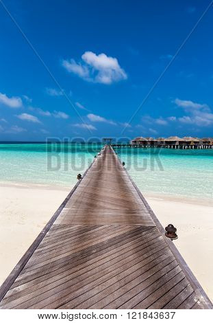 Jetty to Maldivian water villas
