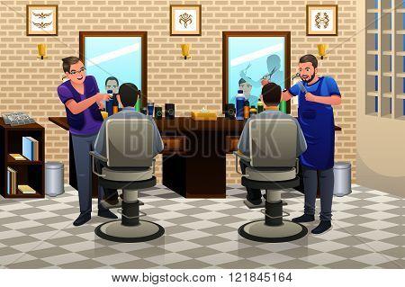 People Having Haircut
