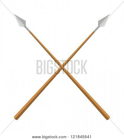 Weapon spear cartoon lance tool battle and war lance tool. History lance tool flat two crossed ancient spears flat vector illustration.