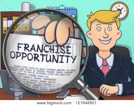 Franchise Opportunity through Magnifying Glass. Doodle Style.
